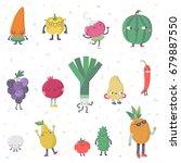cute cartoon live fruits and... | Shutterstock .eps vector #679887550