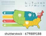 usa map with infographic... | Shutterstock .eps vector #679889188