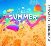 summer background with liquid...   Shutterstock .eps vector #679893139