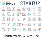 set of line icons startup and... | Shutterstock . vector #679893220