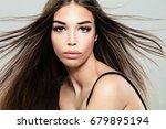 fashion portrait of cute... | Shutterstock . vector #679895194
