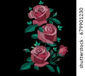 red and pink embroidery roses... | Shutterstock .eps vector #679901230