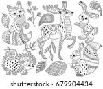 vector black and white doodle... | Shutterstock .eps vector #679904434
