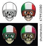 Biker Skull Wearing Goggles And ...