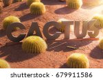 cactus lettering | Shutterstock . vector #679911586