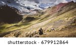 ausangate trek views in peru ... | Shutterstock . vector #679912864