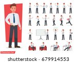 Stock vector businessman working character design set vector design 679914553
