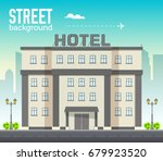 hotel building in city space... | Shutterstock .eps vector #679923520