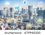 internet of things link people  ... | Shutterstock . vector #679940200