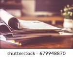 selective focus of the stacking ... | Shutterstock . vector #679948870