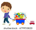 little boy and toys  | Shutterstock .eps vector #679953820