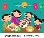 a hong kong family enjoys their ... | Shutterstock .eps vector #679960798