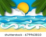 sea waves and tropical beach in ... | Shutterstock .eps vector #679963810