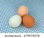Multicolored Chicken Eggs On A...
