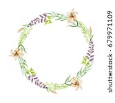 watercolor floral round wreath...   Shutterstock . vector #679971109
