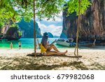 traveler asian woman in bikini... | Shutterstock . vector #679982068