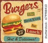 Vintage Burgers Metal Sign.