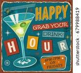 vintage happy hour metal sign. | Shutterstock .eps vector #679988419