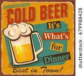 vintage cold beer metal sign. | Shutterstock .eps vector #679988428
