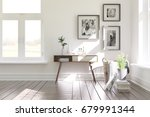 white modern room with shelf.... | Shutterstock . vector #679991344