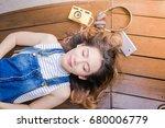relaxing asian young woman... | Shutterstock . vector #680006779
