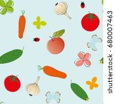 vegetables seamless pattern | Shutterstock .eps vector #680007463