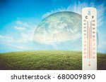 thermometer check the earth's... | Shutterstock . vector #680009890