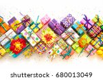 colored gift boxes with... | Shutterstock . vector #680013049