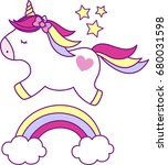 cute unicorn with rainbow and... | Shutterstock .eps vector #680031598