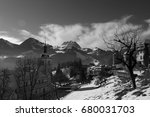 black and white old town  gruy... | Shutterstock . vector #680031703