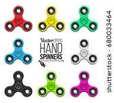 set of hand spinners. fidget... | Shutterstock .eps vector #680033464