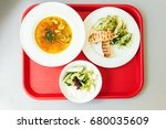 lunch on tray in the cafeteria. ... | Shutterstock . vector #680035609