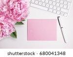 female desktop with white... | Shutterstock . vector #680041348