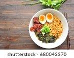 japanese ramen soup with eggs... | Shutterstock . vector #680043370