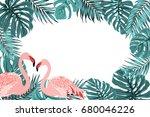 exotic tropical border frame... | Shutterstock .eps vector #680046226