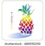 stylized pineapple in vector... | Shutterstock .eps vector #680050240