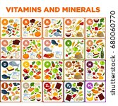 vitamins and minerals big... | Shutterstock .eps vector #680060770