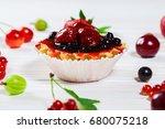 Delicious Fruit Cake On White...