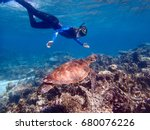 turtle swimming with a... | Shutterstock . vector #680076226