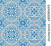 indonesian batik jasmine pattern   Shutterstock .eps vector #680089693
