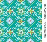 indonesian batik flower pattern ... | Shutterstock .eps vector #680089720