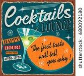 vintage cocktails metal sign. | Shutterstock .eps vector #680092180