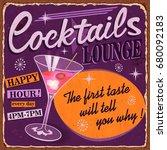 vintage cocktails metal sign. | Shutterstock .eps vector #680092183