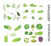 green vegetables and herbes
