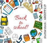 back to school poster. vector... | Shutterstock .eps vector #680099119