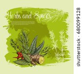 herbs and spices fresh farm... | Shutterstock .eps vector #680099128