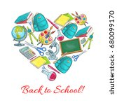 back to school poster of... | Shutterstock .eps vector #680099170