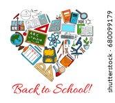 back to school heart vector... | Shutterstock .eps vector #680099179