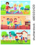 family eats together out of... | Shutterstock .eps vector #680101420