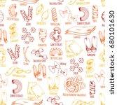 pasta seamless pattern sketch... | Shutterstock .eps vector #680101630